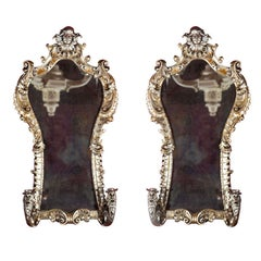 Pair 19th C.  French Rococo Style Silver Gilt Mirrors With Two Candlestick Arms