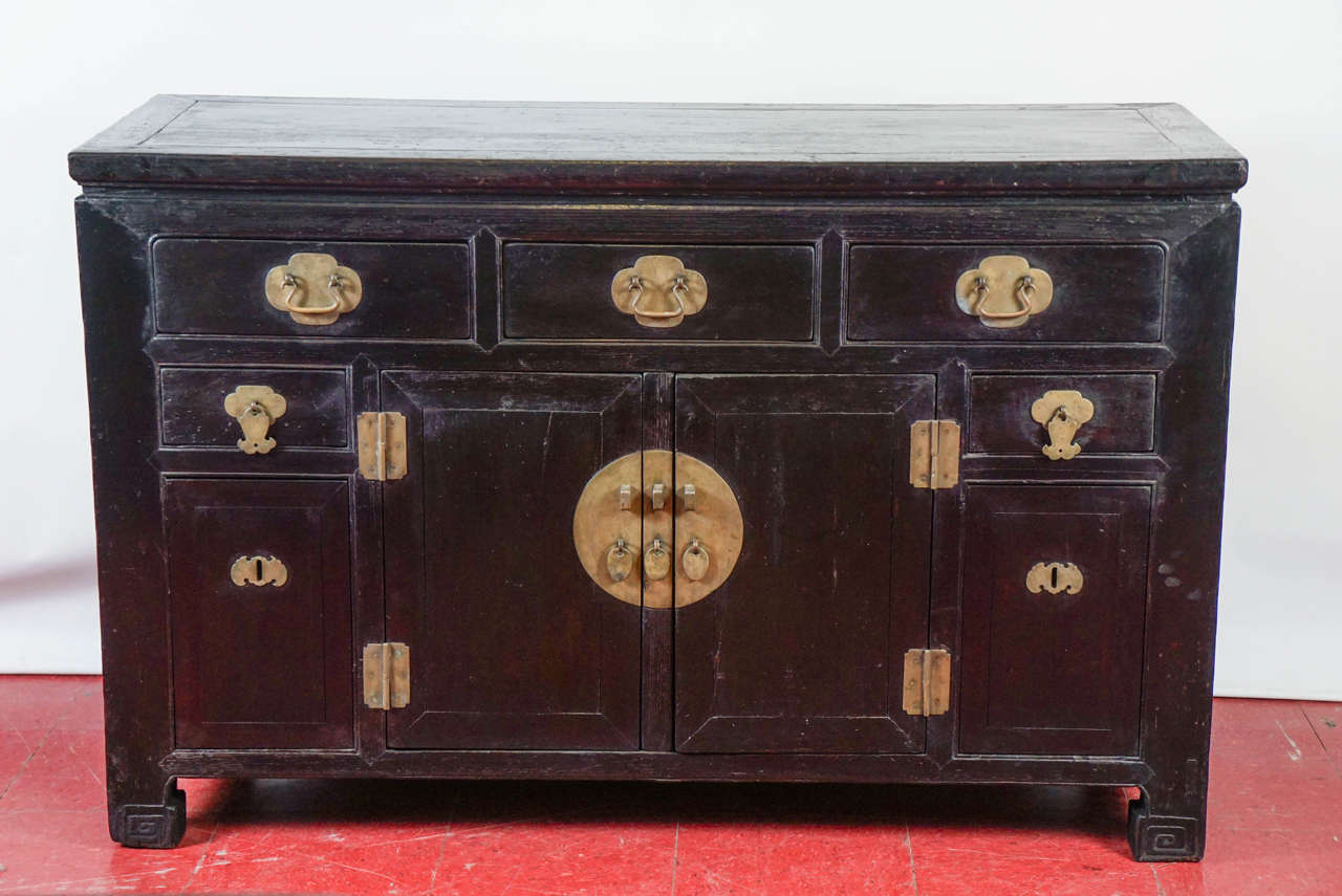 Antique Chinese Black Lacquered Cabinet For Sale at 1stdibs