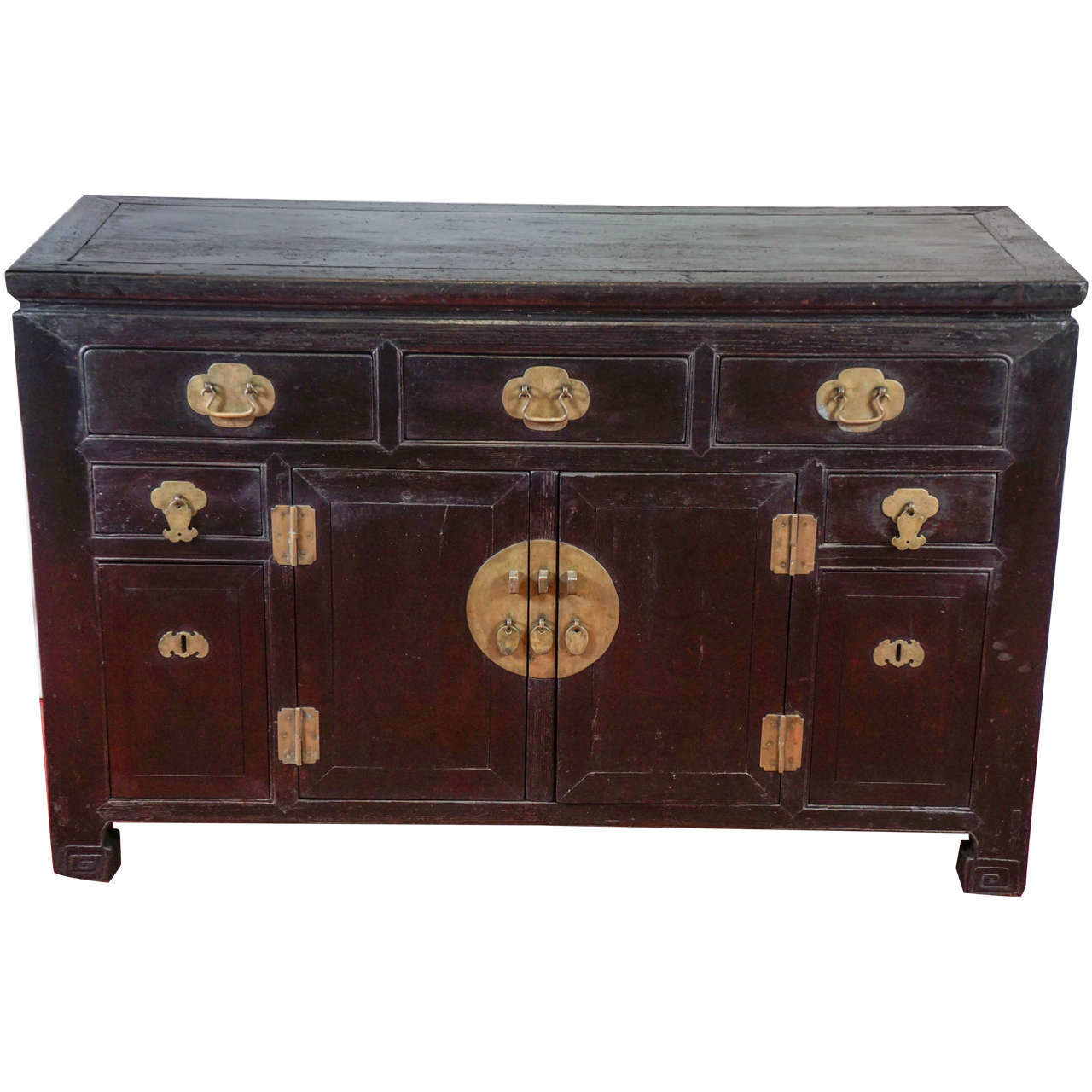 Antique Chinese Black Lacquered Cabinet For