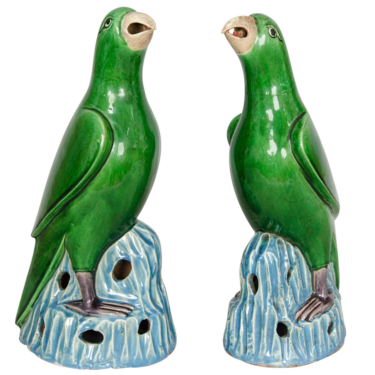 Pair Of Large Chinese Porcelain Green Glazed Parrots At