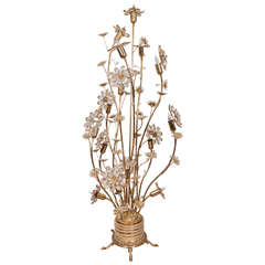 Floral Brass and Crystal Floor Lamp