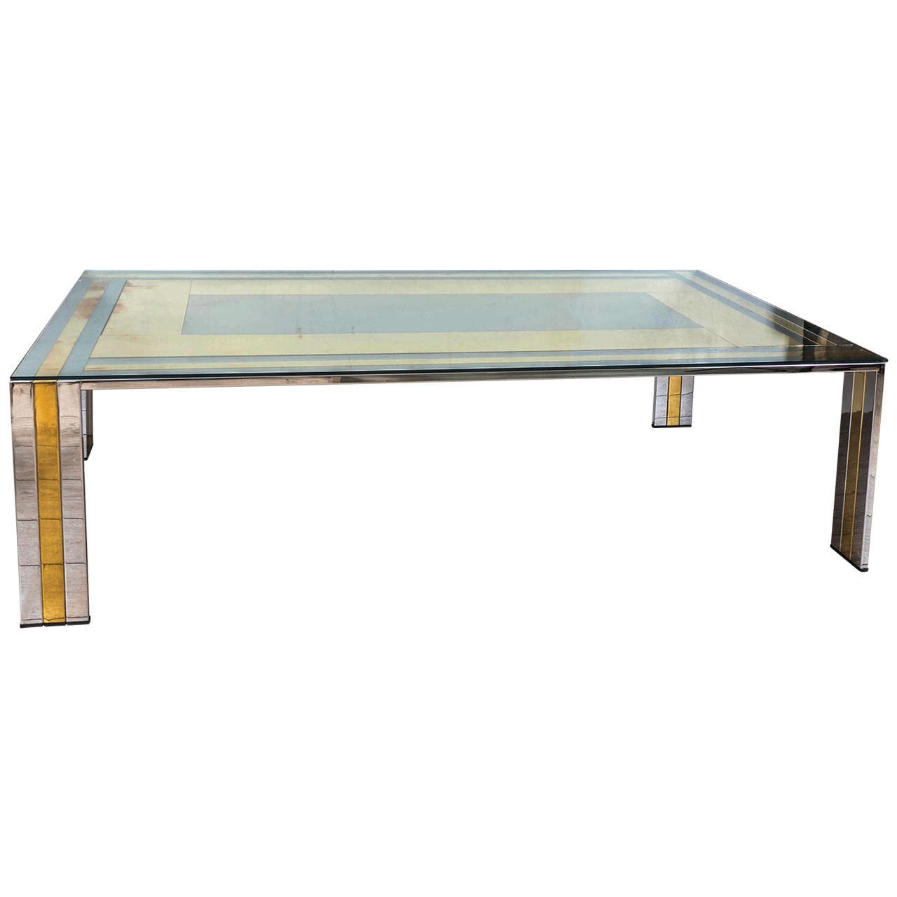 Rectangular Nickel And Brass Coffee Table At 1stdibs
