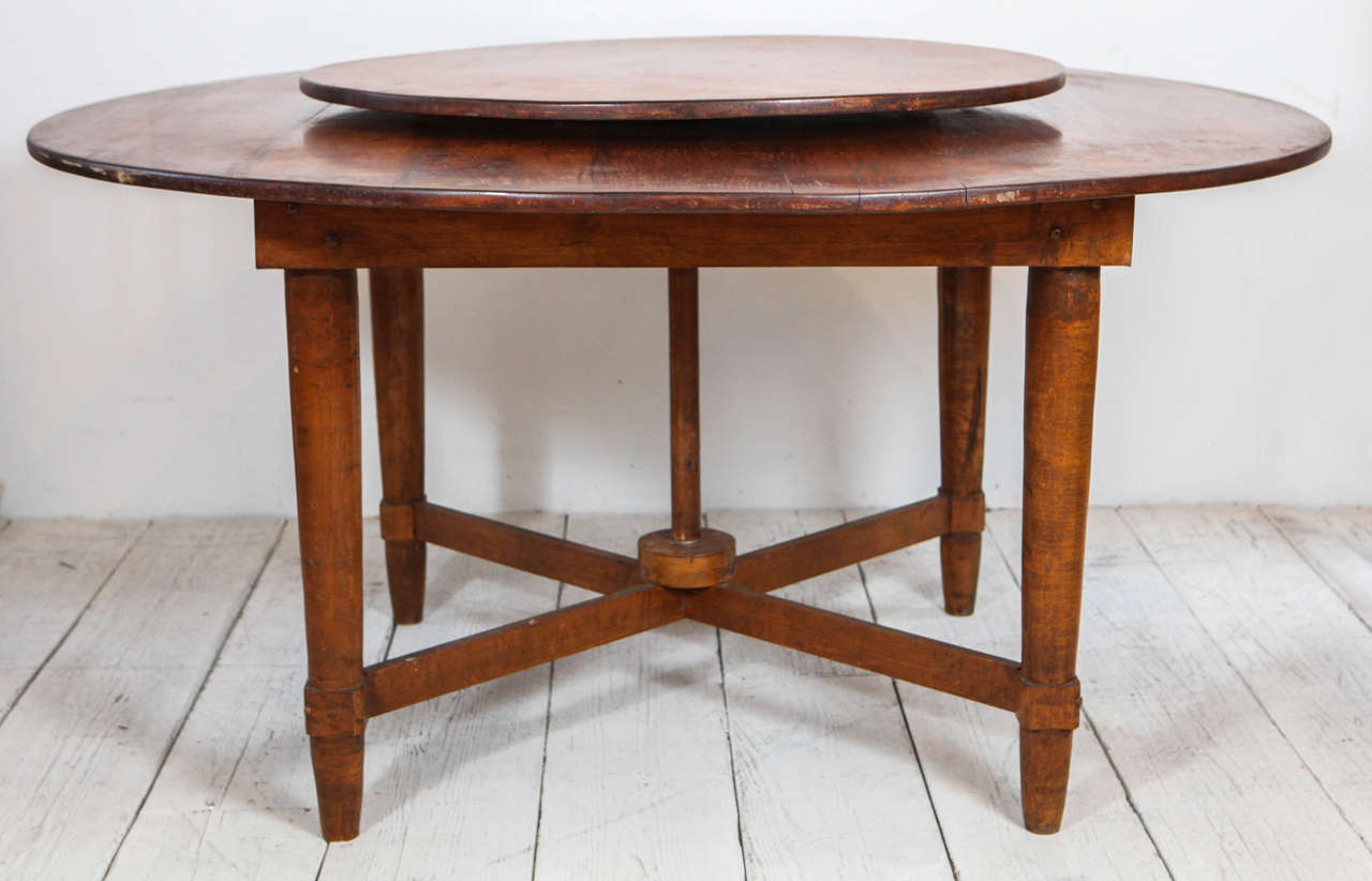 Distinct Rustic Round Dining Table With Built In Lazy Susan At 1stdibs