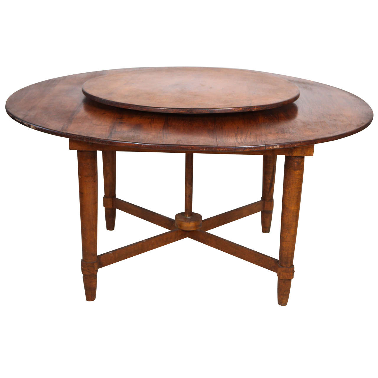 Distinct Rustic Round Dining Table With Built In Lazy Susan