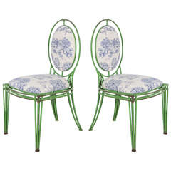 Green Metal and Toile Oval Back Dining Chairs (Two Available)