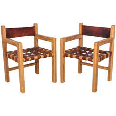 Set of Six Woven Leather and Oak Dining Chairs