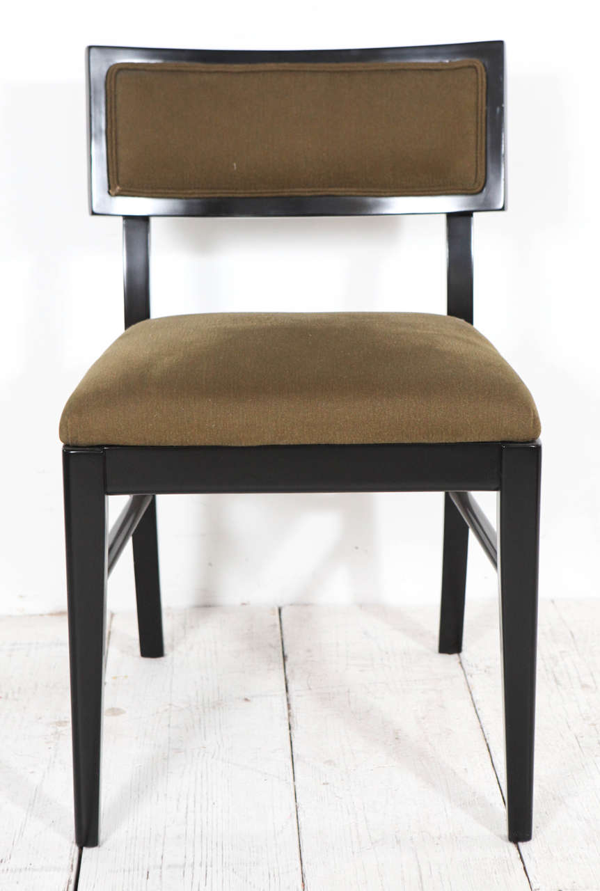 Set of six vintage dining chairs in black gloss and green for Black fabric dining room chairs
