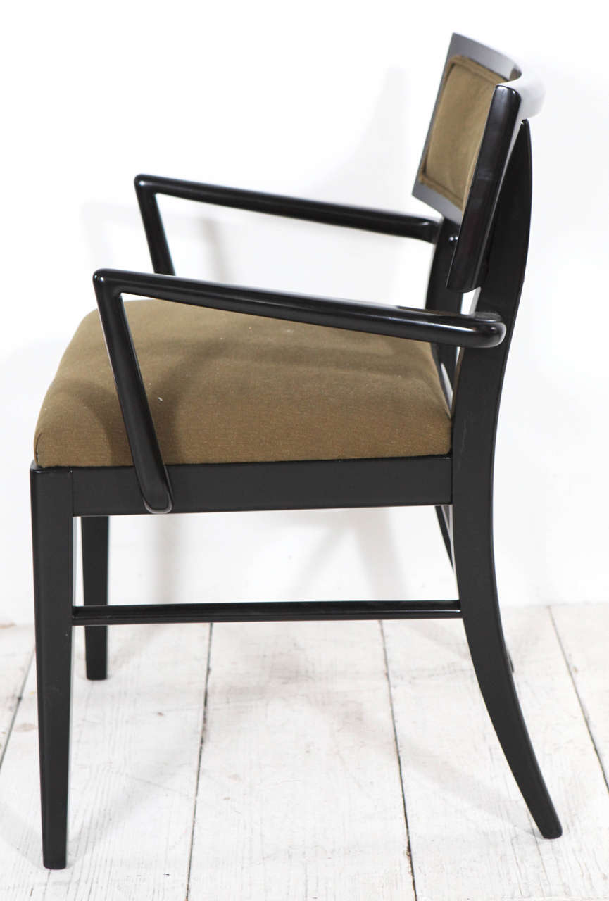 Set of six vintage dining chairs in black gloss and green fabric at 1stdibs for Black dining sets with 6 chairs