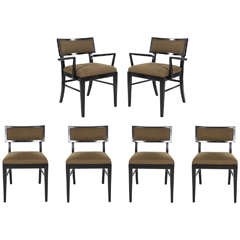 Set of Six Vintage Dining Chairs in Black Gloss and Green Fabric
