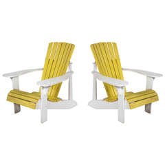 Pair of Vintage Painted Adirondack Chairs