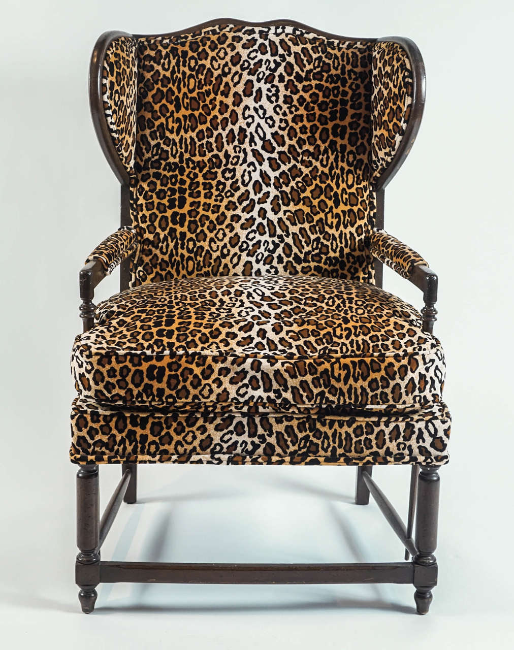 Leopard Print Wingback Chair at 1stdibs