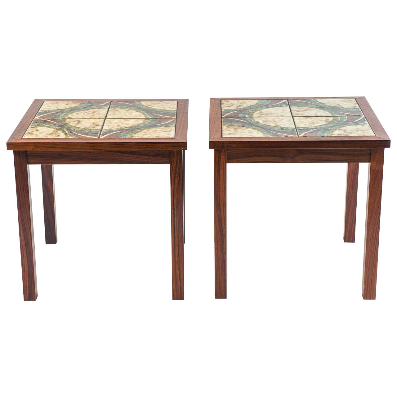 Tile Coffee Table Set: Pair Of Rosewood And Tile-Top Cocktail Or End Tables For