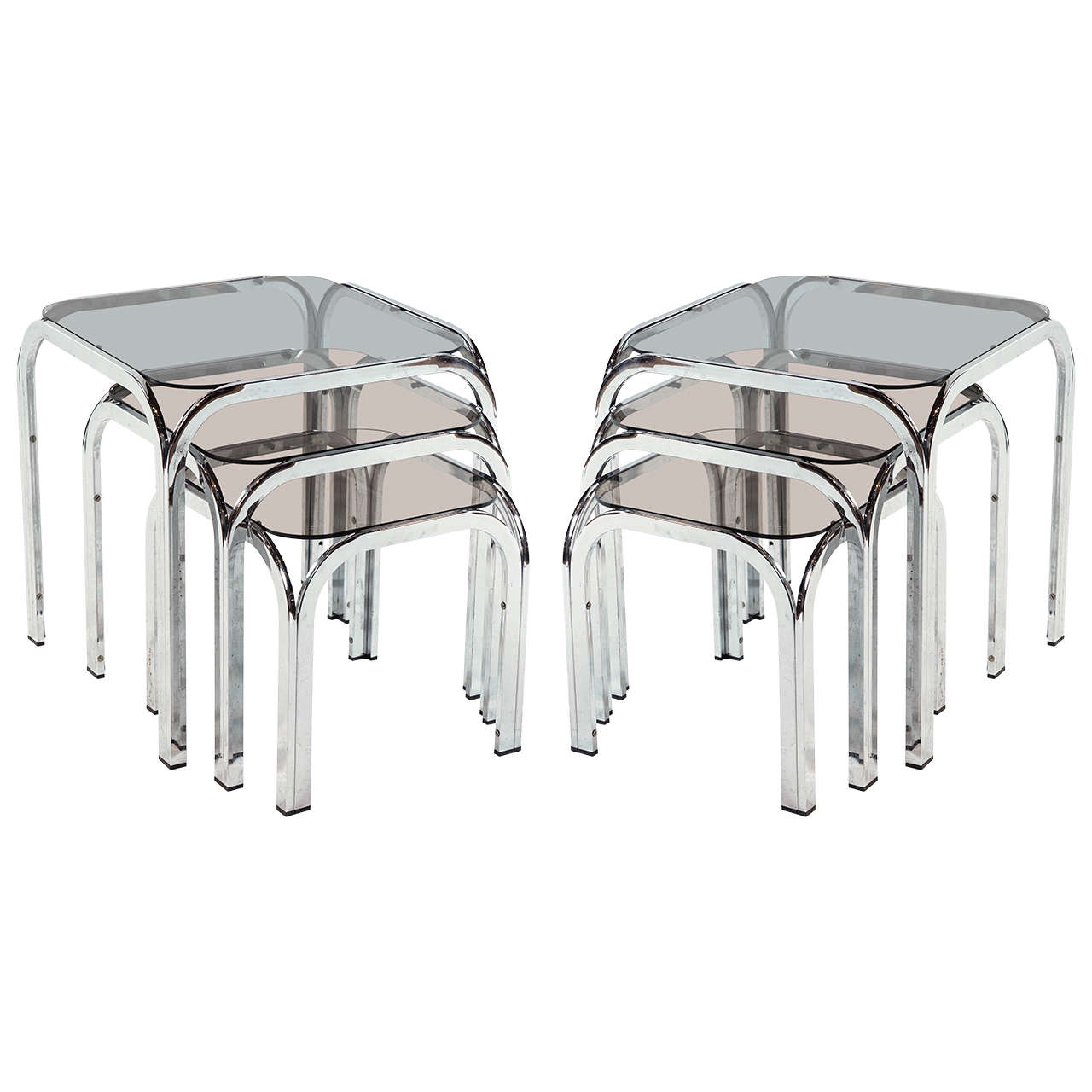 Pair Of Chrome And Smoked Glass Nesting Tables At 1stdibs