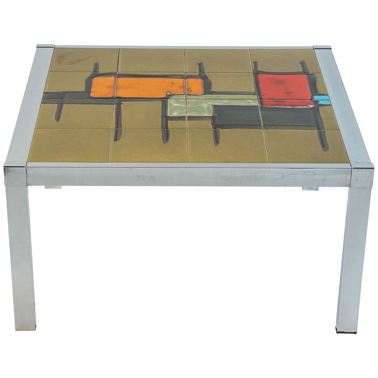 French Tile-Top Cocktail or End Table with an Abstract Design