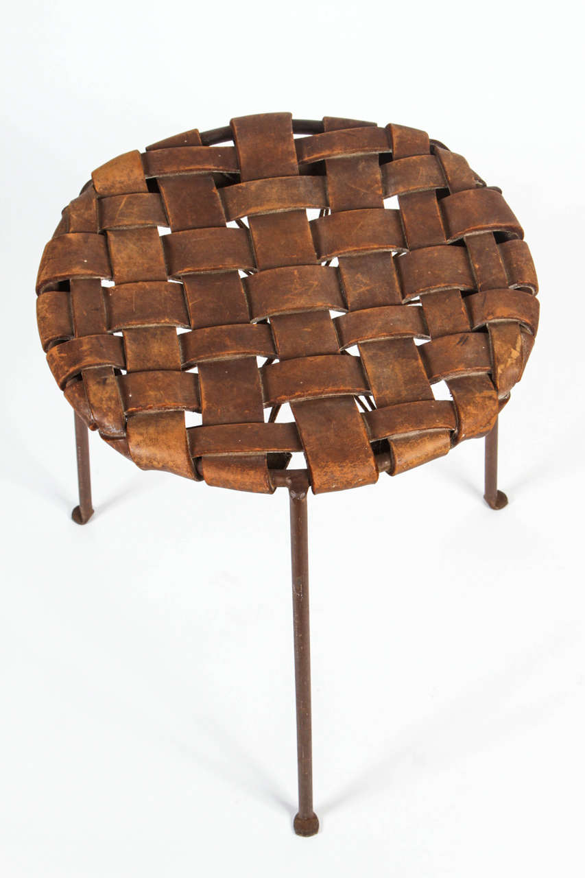 Iron And Woven Leather Stool By Lila Swift And Donald