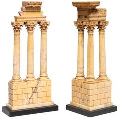 Pair Italian Neoclassical Grand Tour Sienna Marble Souvenirs of Temple Ruins