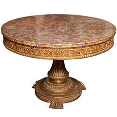 Italian Neoclassical Giltwood and Marble-Top Centre Table
