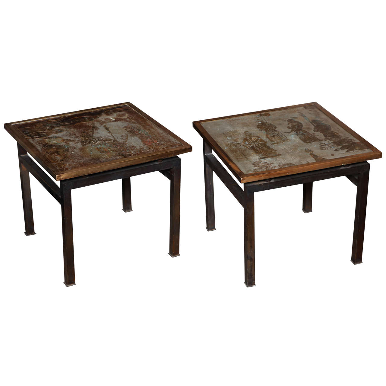 Pair of unique antique american bronze side tables by for Unique side tables