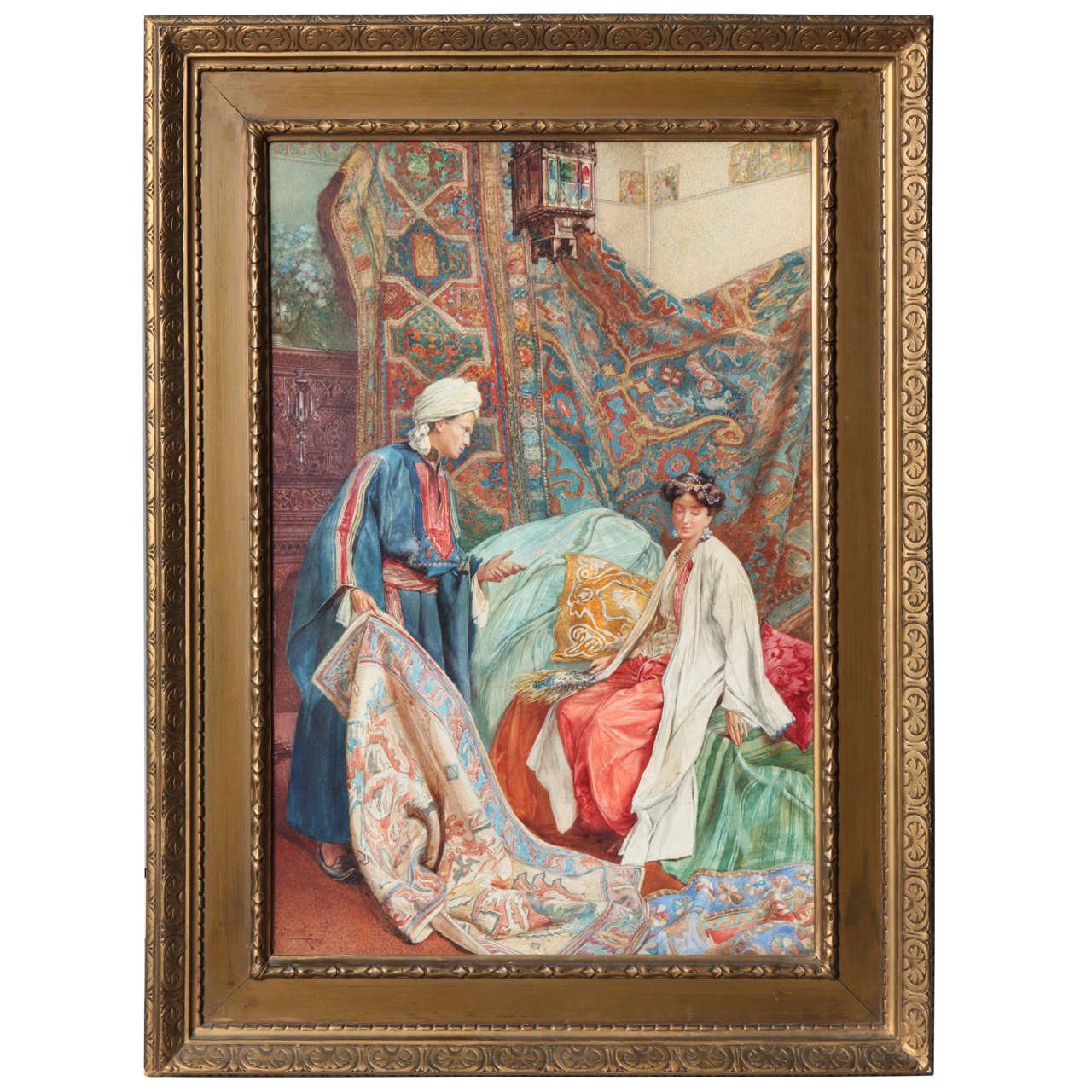 "Italian Orientalist Watercolor of ""A Lady at the Bazaar"", Umberto Cacciarelli"