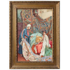 "Italian Orientalist Watercolor of ""A Lady at the Bazaar"", Umberto Cacciarelli"