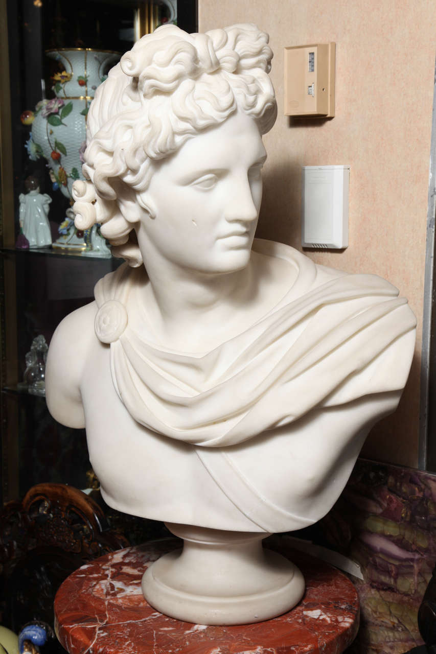 Large Monumental Antique Italian Carrara Marble Bust of Apollo, signed 2