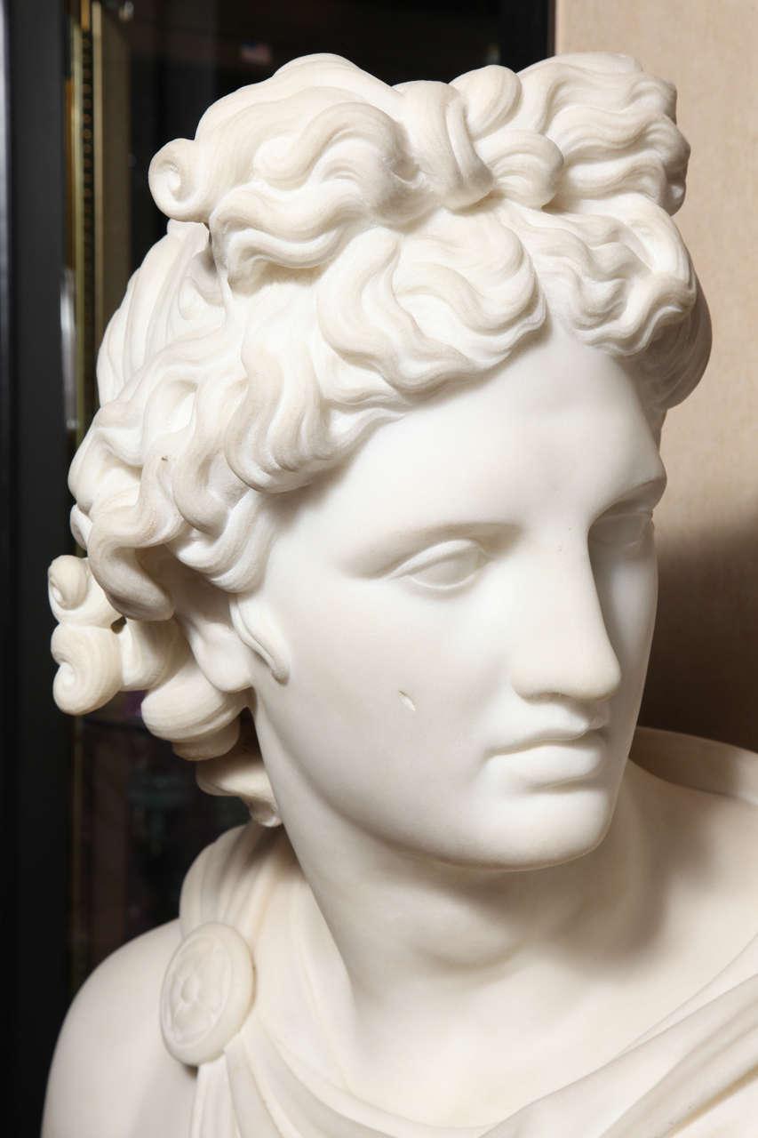 Large Monumental Antique Italian Carrara Marble Bust of Apollo, signed 3