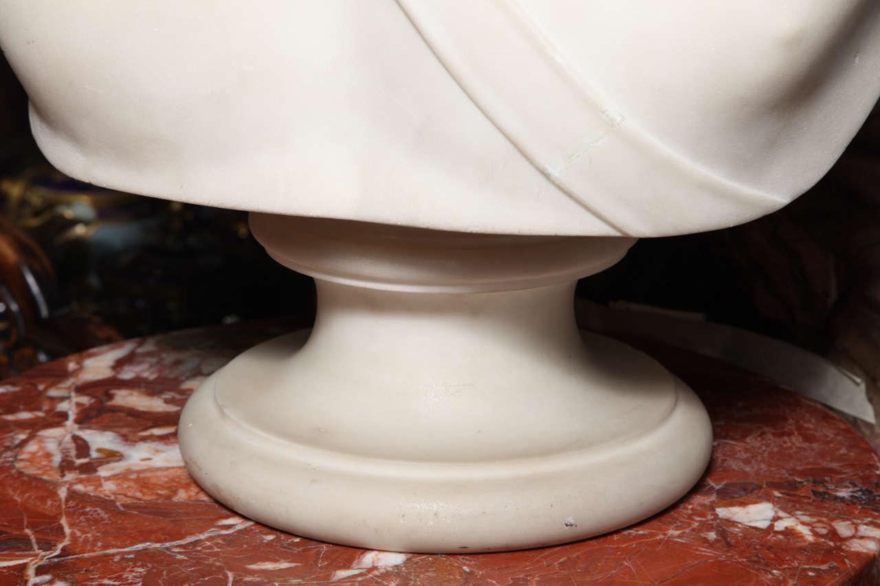 Large Monumental Antique Italian Carrara Marble Bust of Apollo, signed 6