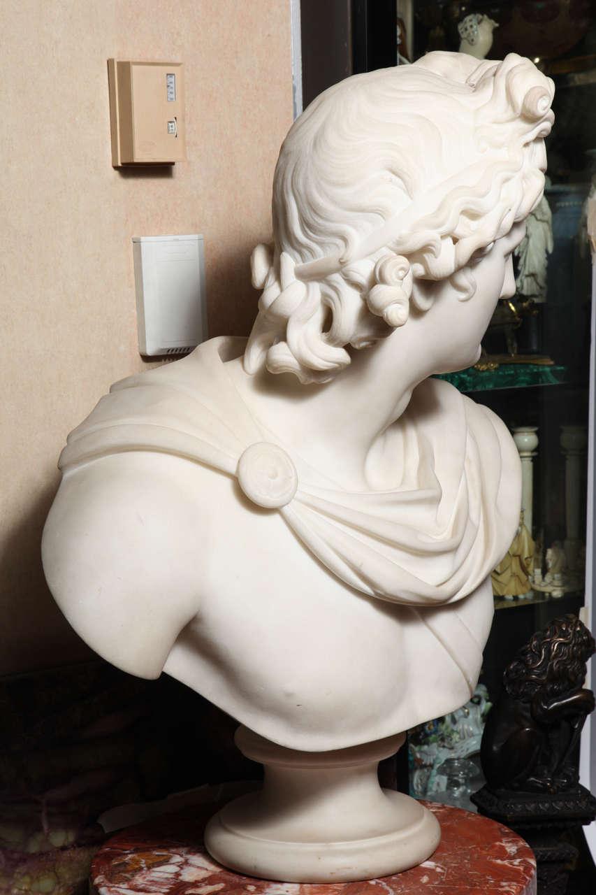 Large Monumental Antique Italian Carrara Marble Bust of Apollo, signed 7
