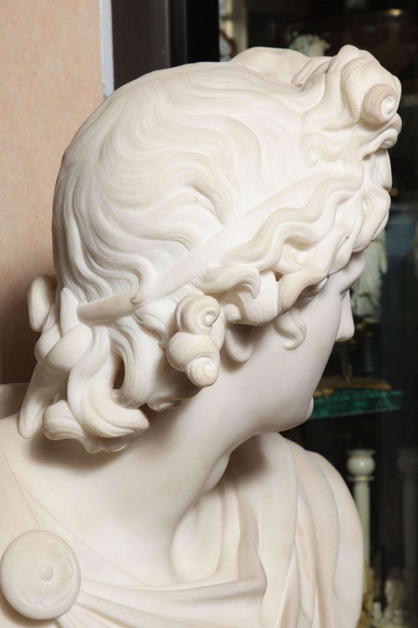 Large Monumental Antique Italian Carrara Marble Bust of Apollo, signed 8
