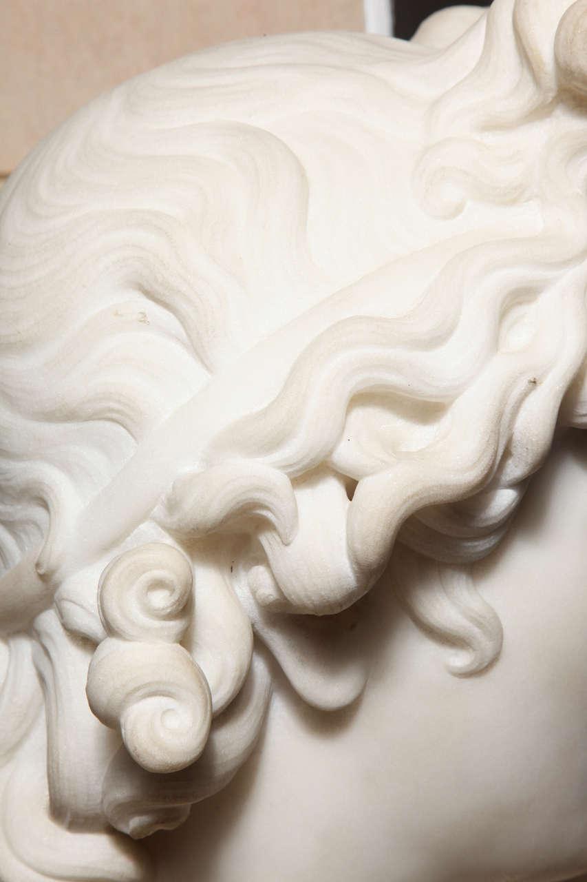 Large Monumental Antique Italian Carrara Marble Bust of Apollo, signed 9