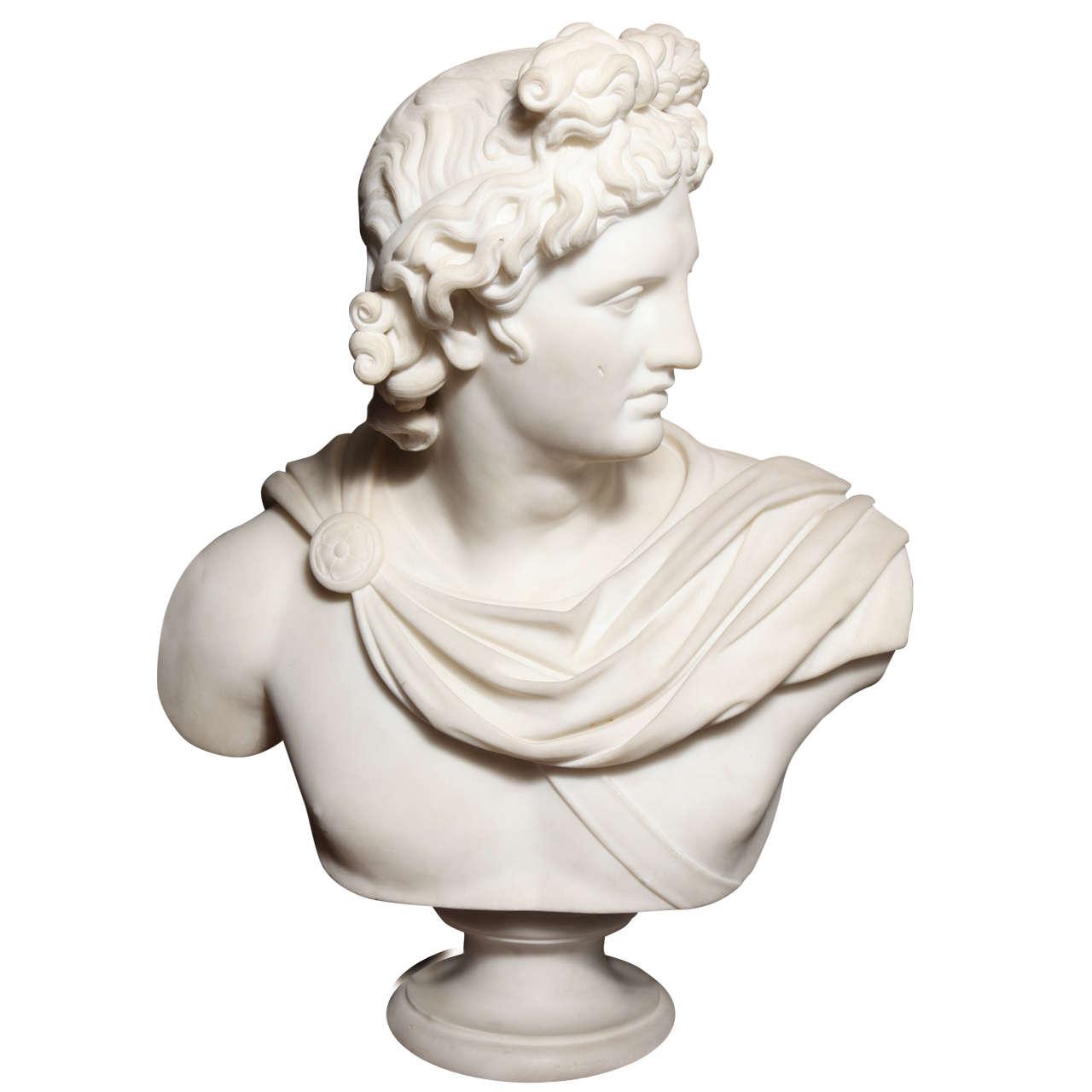 A Large Antique Italian Carrara Marble Bust Of Apollo For