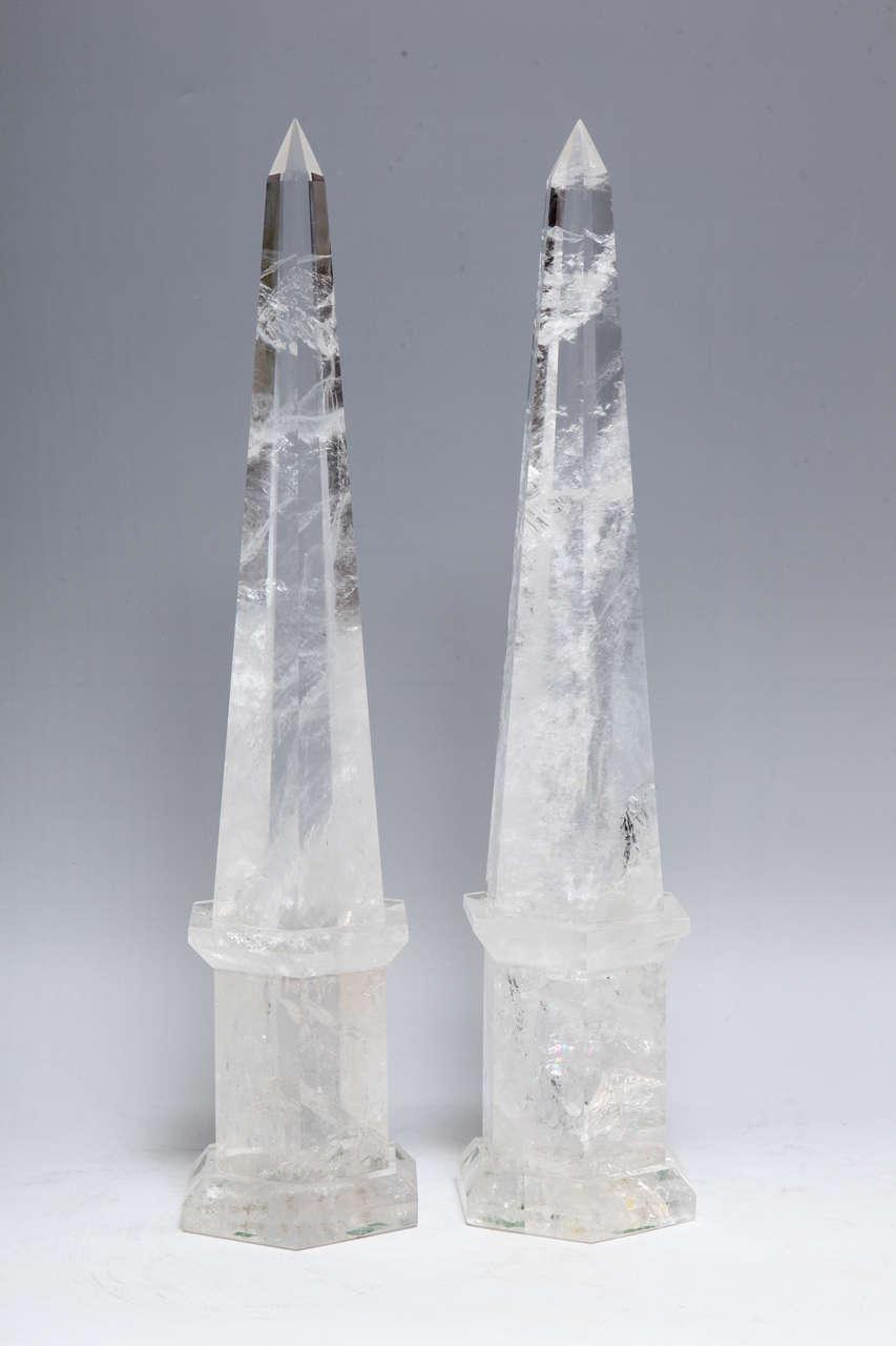 Fine Pair of Cut Rock Crystal Obelisks 2