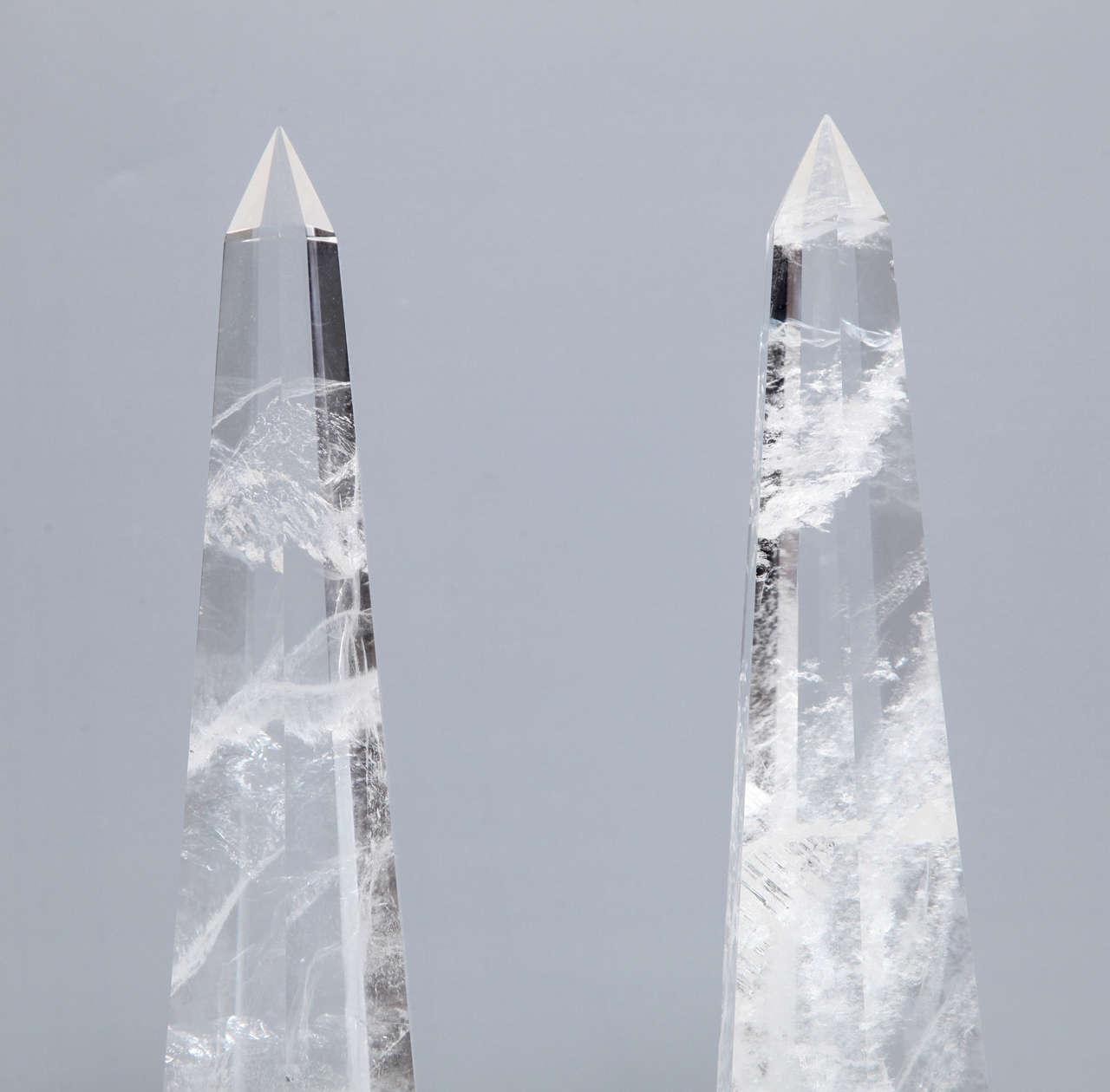 Fine Pair of Cut Rock Crystal Obelisks 3