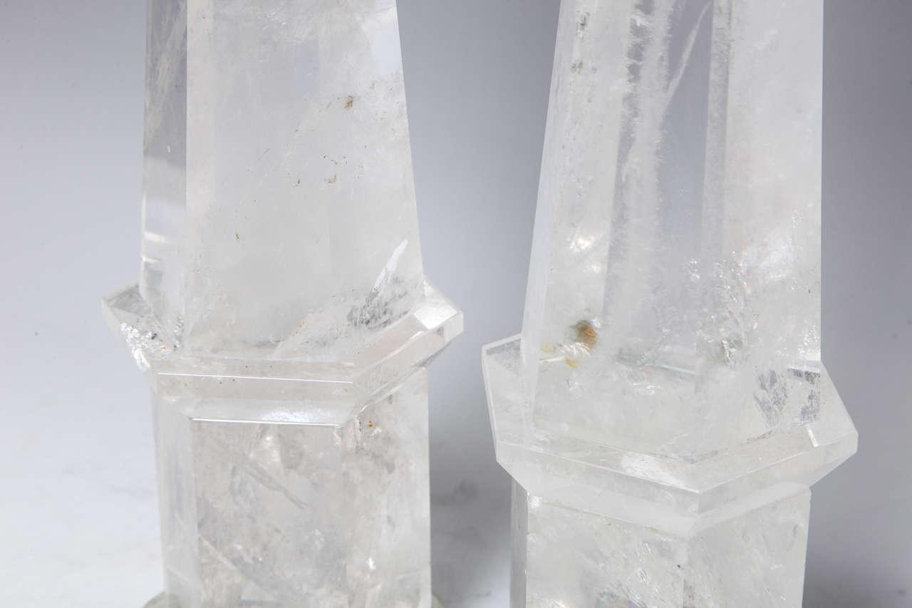 Fine Pair of Cut Rock Crystal Obelisks 5