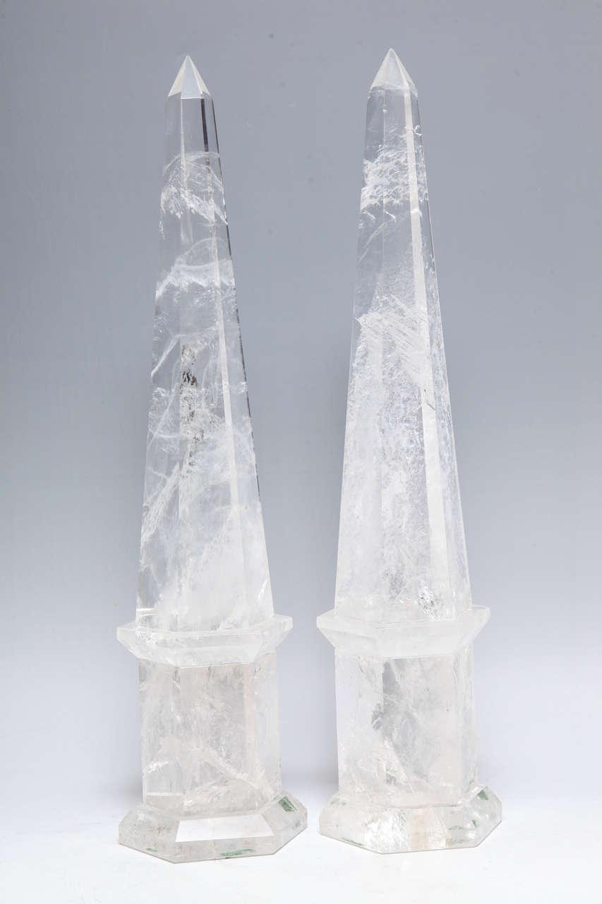 Fine Pair of Cut Rock Crystal Obelisks 10