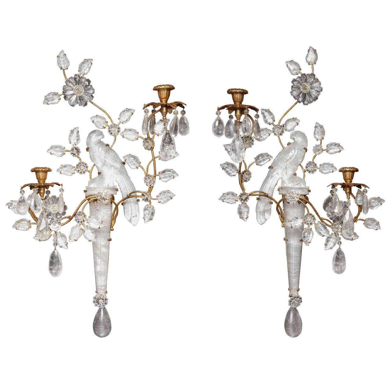 A Pair of Antique French Louis XVI gilt bronze and cut rock crystal sconces by Bagues at 1stdibs