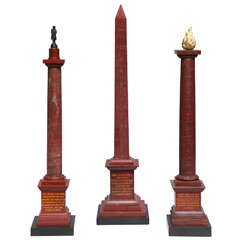 "A Group of Antique Grand Tour period ""Rosso Antico"" Red Marble Obelisk Columns"