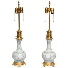 Pair of French Porcelain Pat Sue Pat Vases in Orientalist Taste Mounted as Lamp