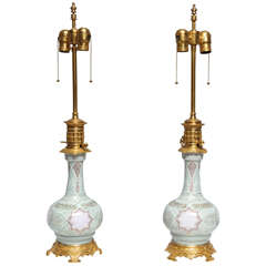 Pair of French Porcelain Pat Sue Pat Vases in Orientalist Taste Mounted as Lamp