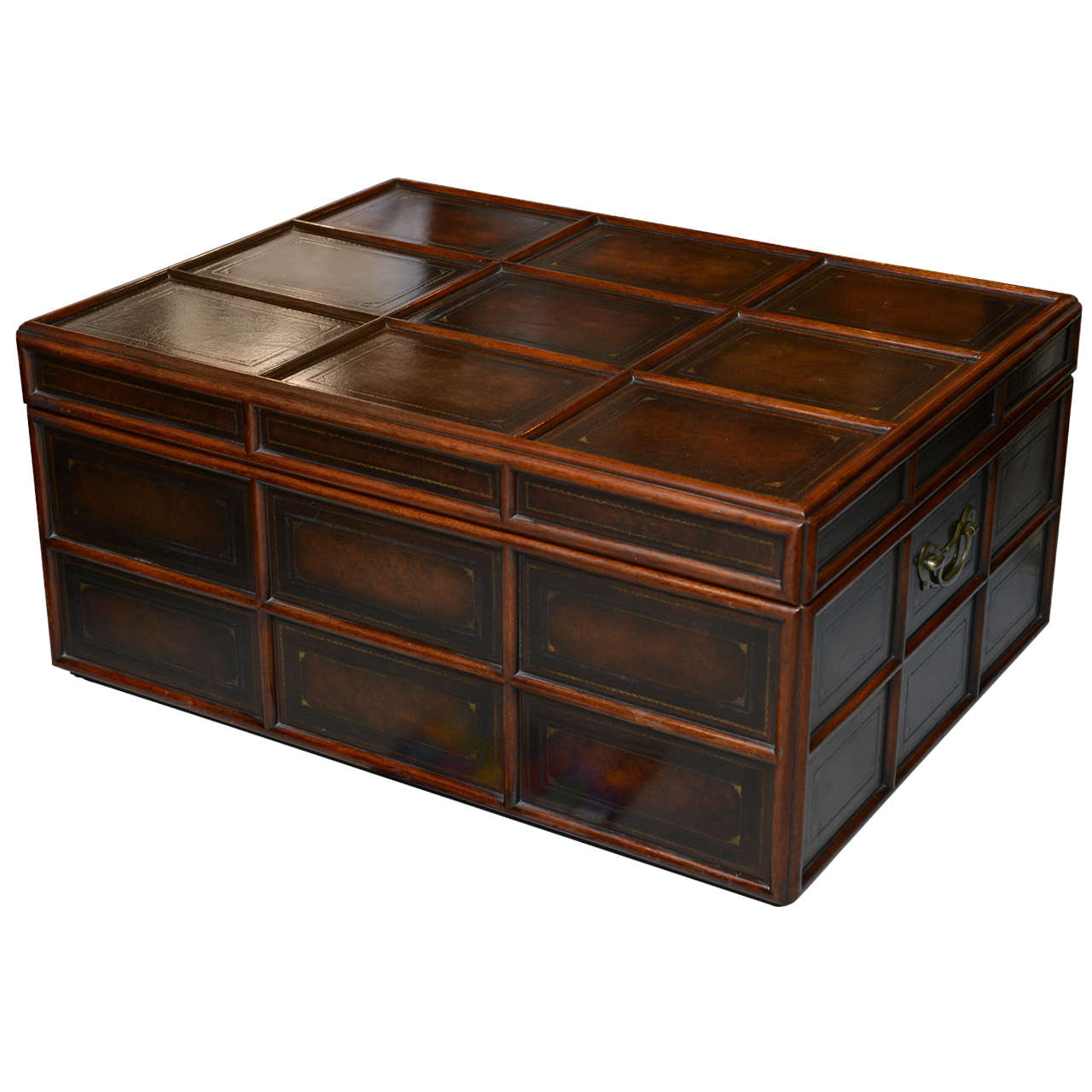 Vintage Wood and Leather Trunk by Maitland Smith at 1stdibs