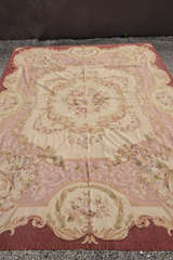 "Circa 1950's 9"" X 12"" French Needlepoint Aubusson Style Rug image 3"