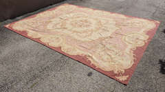 "Circa 1950's 9"" X 12"" French Needlepoint Aubusson Style Rug image 4"