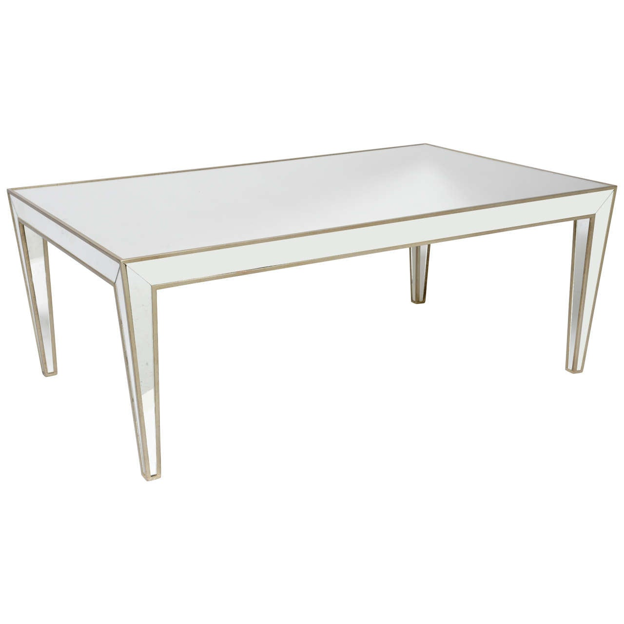 Costume made mirrored coffee table with hand gilded border for Table no border
