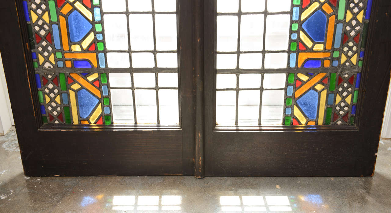 Pair Of Leaded Stained Glass Doors At 1stdibs