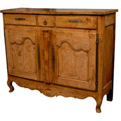 French Early 19th Century Narrow Burr Elm Buffet, Three Drawers over Two Doors