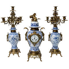 Delft Mantel Clock, Garinature, with Bronze Mounts, Late 19th Century