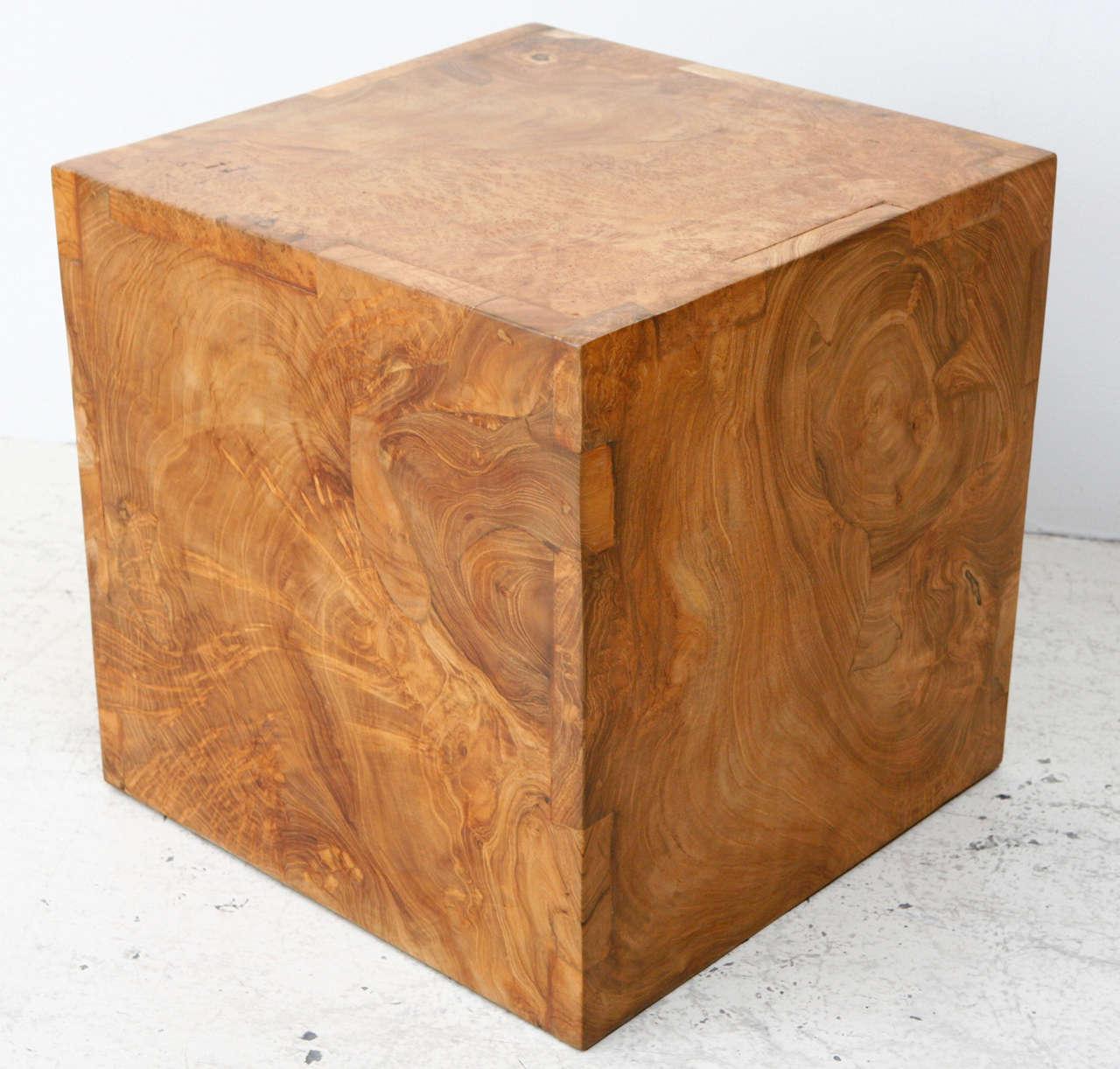 Vintage Solid Burl Wood Cube Image 3