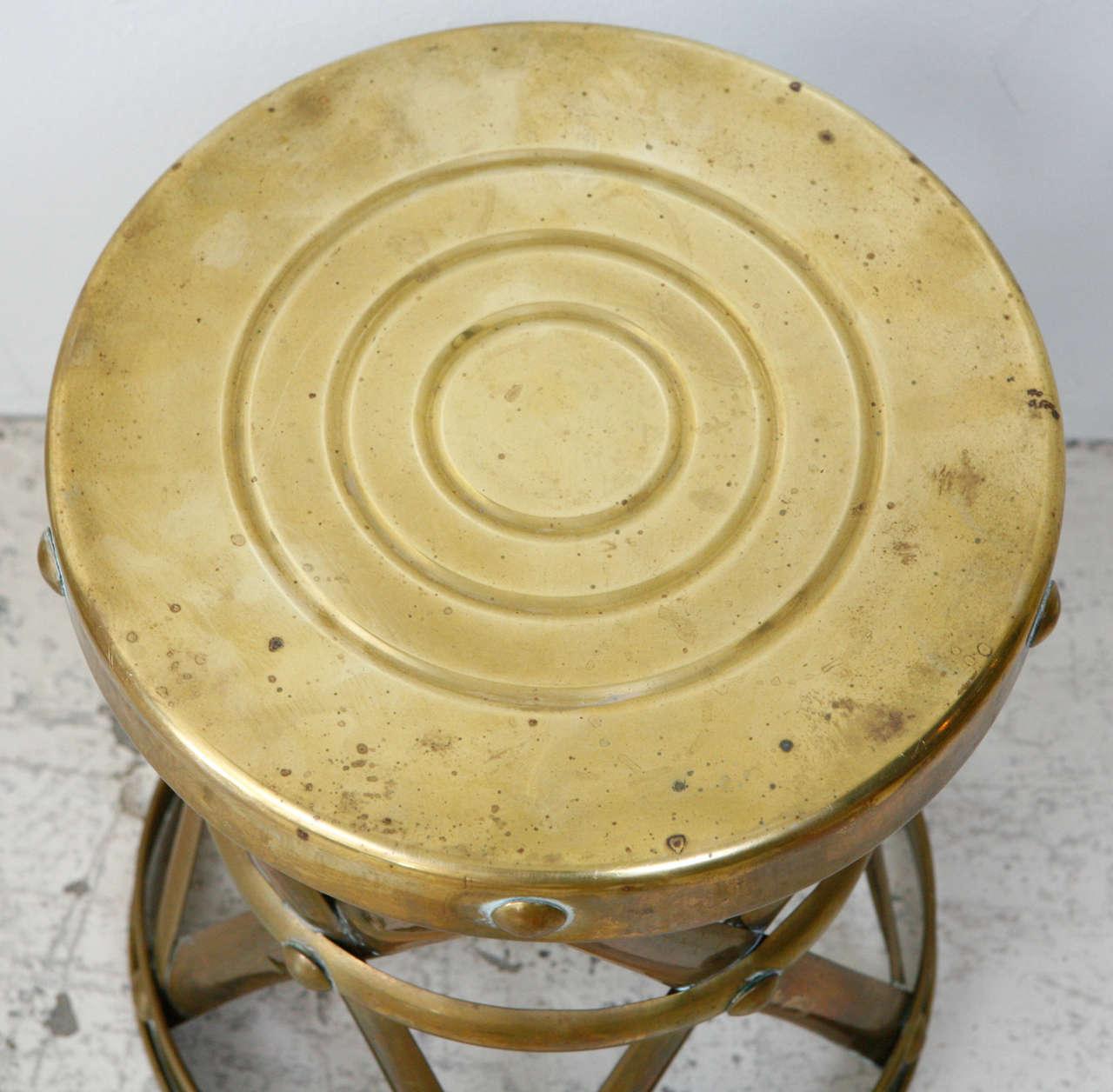 Vintage Brass Drum Stool At 1stdibs