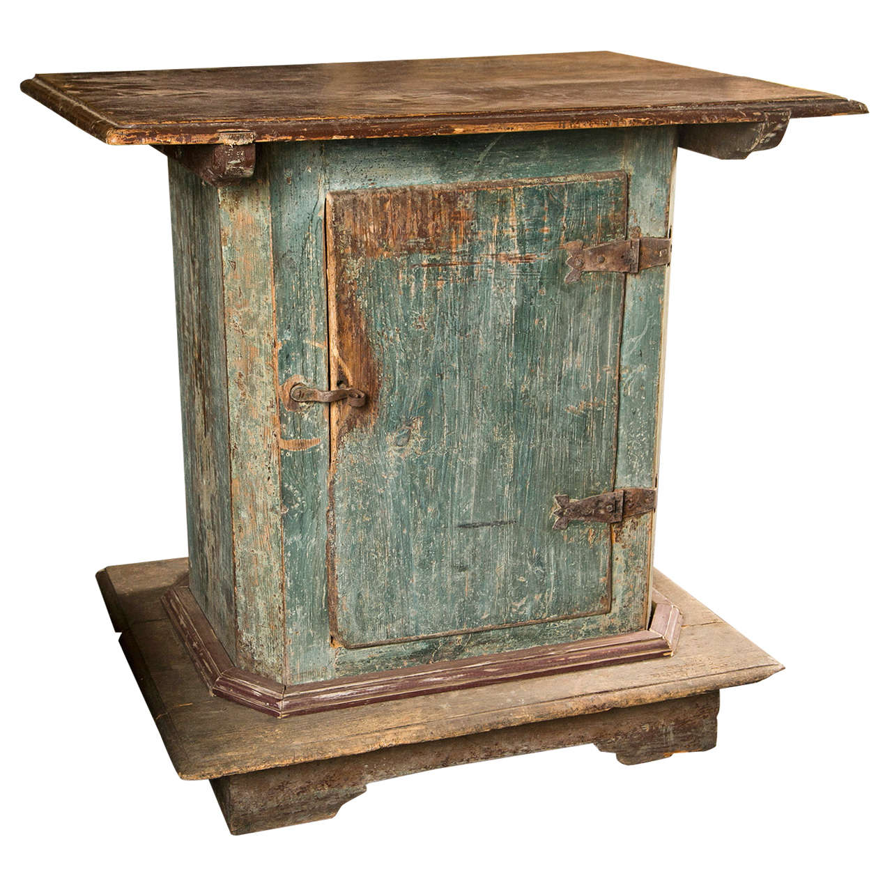 Swedish Painted Pedestal Cabinet with One Door in Original Paint Finish, c. 1780 For Sale