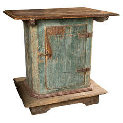 Swedish Painted Pedestal Cabinet with One Door in Original Paint Finish, c. 1780